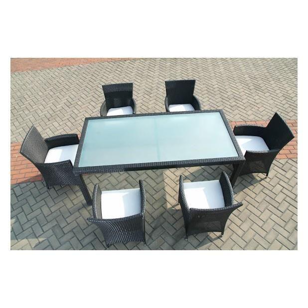 Magnifique salon de jardin table 6 fauteuils en resine - Salon de jardin en resine tressee luxe poly rotin ...