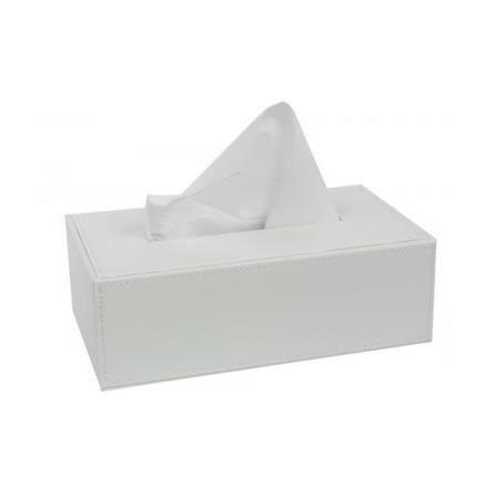 Bo te mouchoirs design pu blanc achat vente for Boite a mouchoirs maison