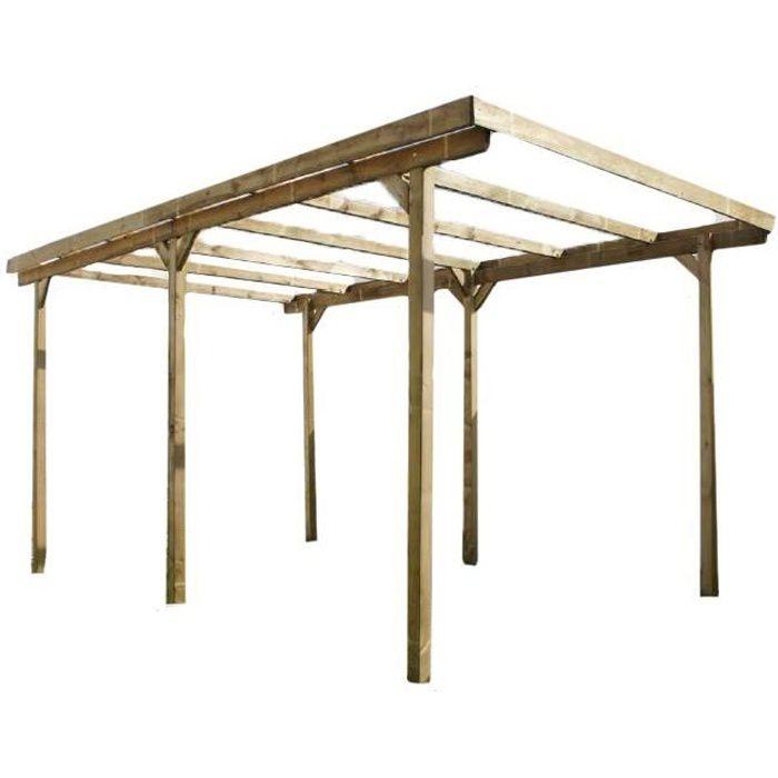 carport simple bois 305x500cm achat vente carport. Black Bedroom Furniture Sets. Home Design Ideas