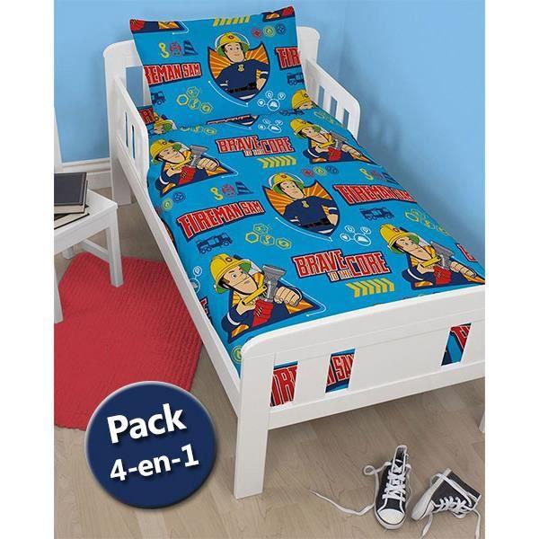 pack literie sam le pompier couette oreiller parure de lit junior achat vente parure de. Black Bedroom Furniture Sets. Home Design Ideas