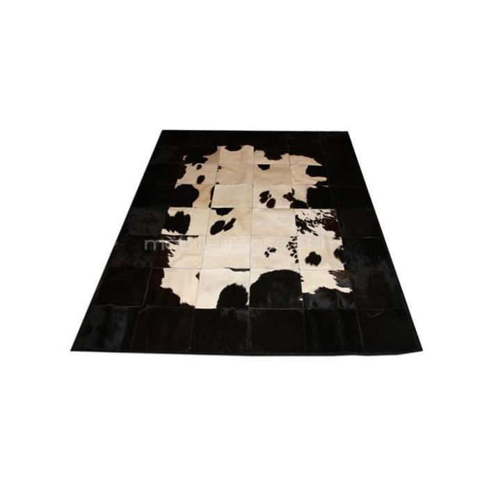 Peau De Vache Huta Patchwork Noire Et Blanche 205x290 Cm Achat Vente Tapis Cdiscount