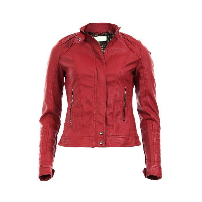 blouson en simili cuir rouge rouge achat vente blouson blouson en simili cuir rouge cdiscount. Black Bedroom Furniture Sets. Home Design Ideas