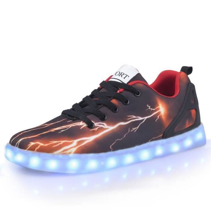 chaussure lumineuse roux usb charge chaussure led homme multicolore led lumi re lumineux. Black Bedroom Furniture Sets. Home Design Ideas
