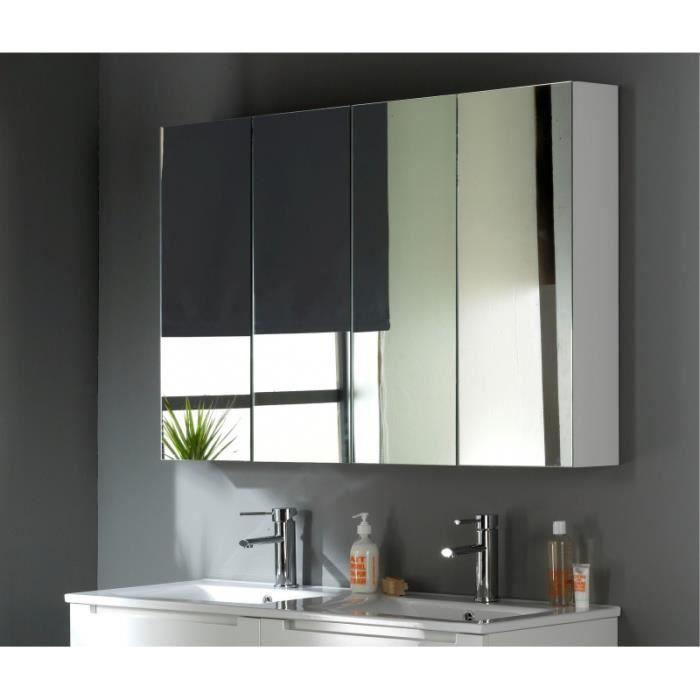 Armoire miroir 120 cm blanc laqu achat vente miroir - Miroir salle de bain 90 cm ...