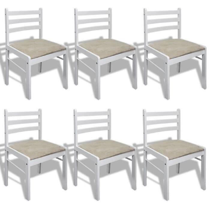 Lot de 6 chaises de salle manger en bois carr e blanche achat vente cha - Lot de 6 chaises en bois ...