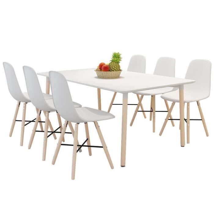 Set de 6 chaises de salle manger avec pieds en bois for Chaise de salle a manger avec roulette