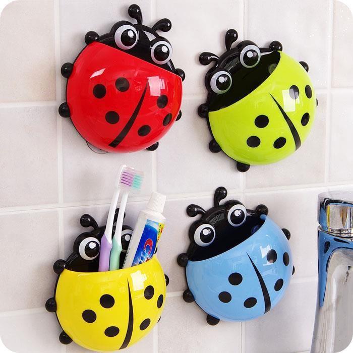 4psc porte brosse dents coccinelle support mural mur pour salle de bain et vite achat - Porte brosse a dent mural ...
