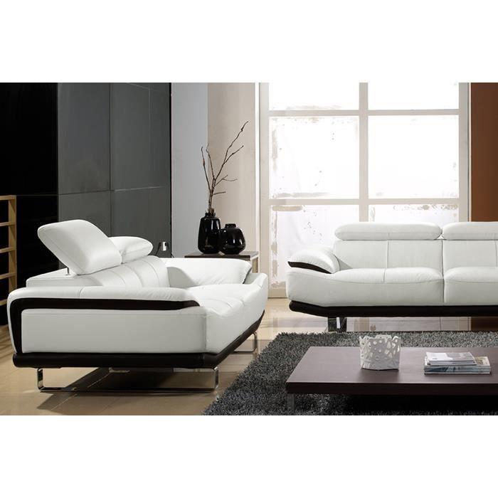salon cuir 3 2 places blanc et noir osmoz achat. Black Bedroom Furniture Sets. Home Design Ideas