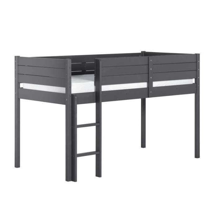 lit mi hauteur paraiso 90x190 gris achat vente lit. Black Bedroom Furniture Sets. Home Design Ideas
