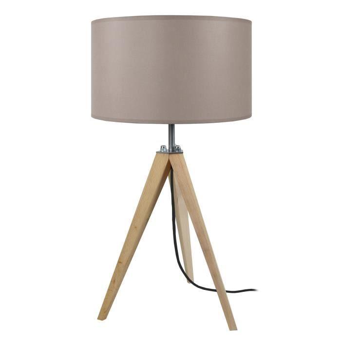 tosel lampe poser tr pied en bois naturel avec abat jour. Black Bedroom Furniture Sets. Home Design Ideas