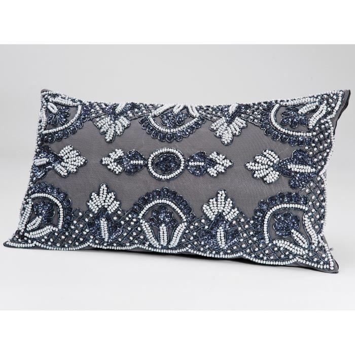 coussin oriental gris 50x30 cm achat vente coussin cdiscount. Black Bedroom Furniture Sets. Home Design Ideas