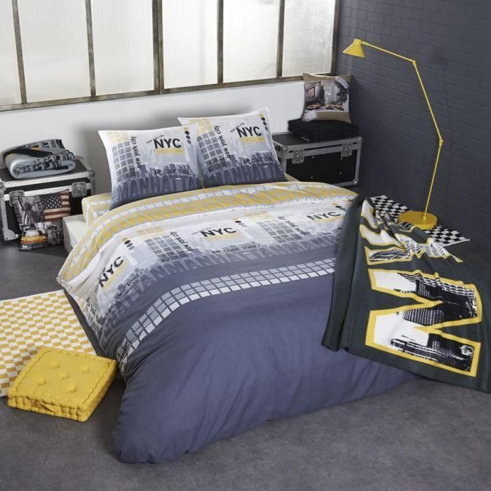 new york parure housse de couette taie s d 39 oreiller s. Black Bedroom Furniture Sets. Home Design Ideas