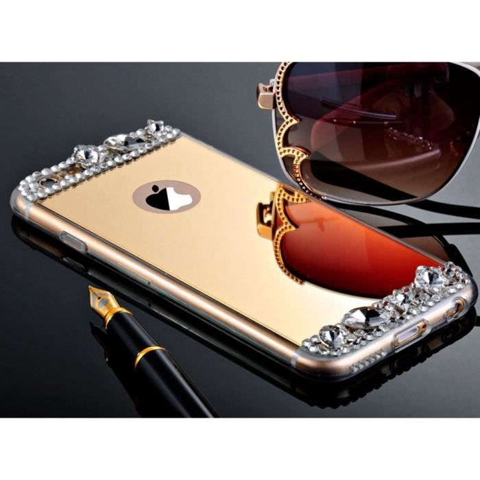 Bpfy coque iphone 5 5s se souple strass miroir or achat for Coque iphone 7 miroir