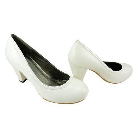 Escarpins bout rond et gros talon blanc achat vente - Meuble a chaussure rond ...