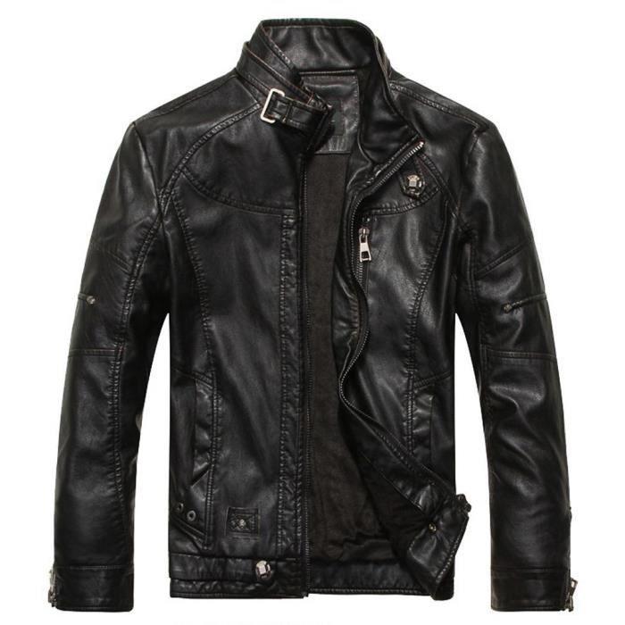 blouson cuir homme blouson moto hiver noir noir achat. Black Bedroom Furniture Sets. Home Design Ideas