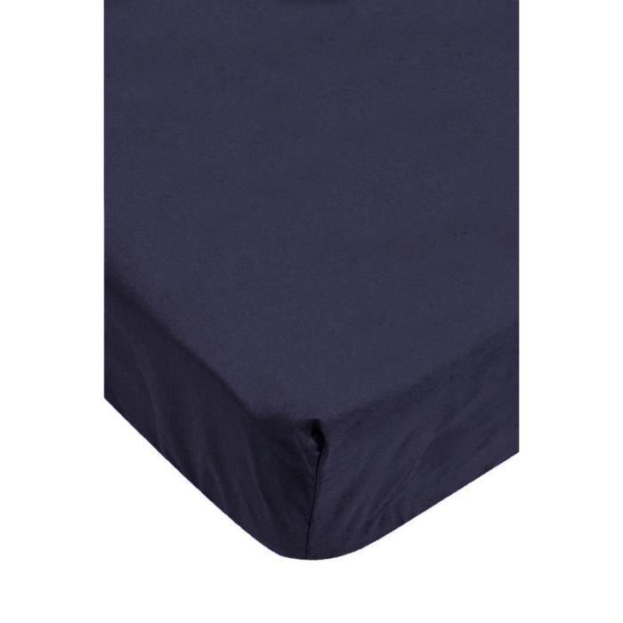 drap housse bleu marine achat vente drap housse cdiscount. Black Bedroom Furniture Sets. Home Design Ideas