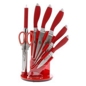 PRADEL EXCELLENCE Bloc tournant de 5 couteaux de cuisine + fusil et ciseau I7408R 2,5-8,5-11-20cm rouge