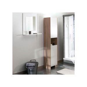 COLONNE - ARMOIRE SDB Colonne salle de bain 2 portes/1 niche - chene/bla