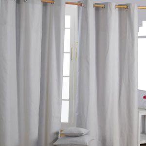 paire de rideaux a oeillet gris achat vente paire de rideaux a oeillet gris pas cher cdiscount. Black Bedroom Furniture Sets. Home Design Ideas
