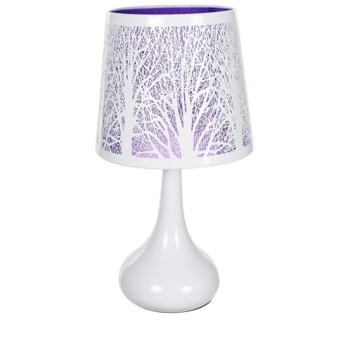 lampe touch m tal blanc motif arbre violet 11615 achat vente lampe touch m tal blanc mot. Black Bedroom Furniture Sets. Home Design Ideas