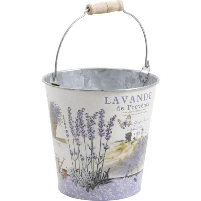 cache pot seau en zinc motif provence achat vente jardini re pot fleur cache pot seau en. Black Bedroom Furniture Sets. Home Design Ideas