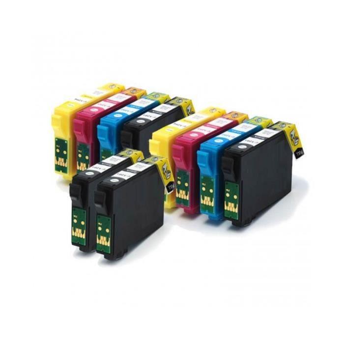 pack 10 cartouche d encre epson compatible t1815 xl prix pas cher soldes cdiscount. Black Bedroom Furniture Sets. Home Design Ideas