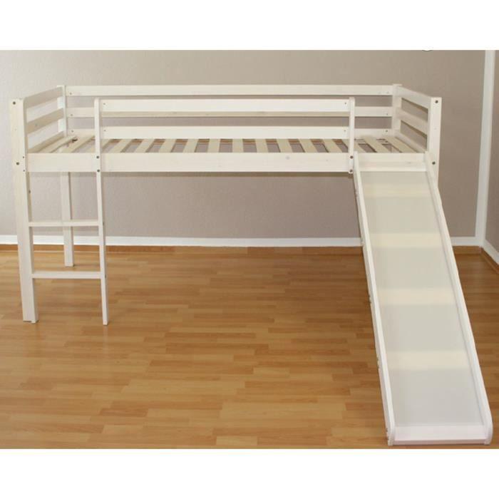 Lit mezzanine 90x200cm avec chelle toboggan en bois laqu blanc achat ve - Lit mezzanine 140x190 bois ...