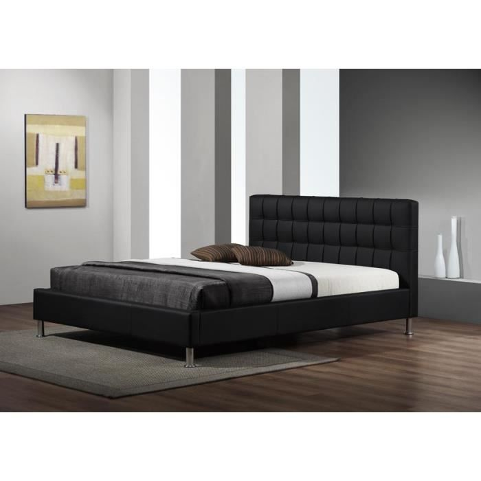 Lit design maxi simili cuir noir sommier 160x200 achat vente lit comple - Cdiscount sommier 160x200 ...