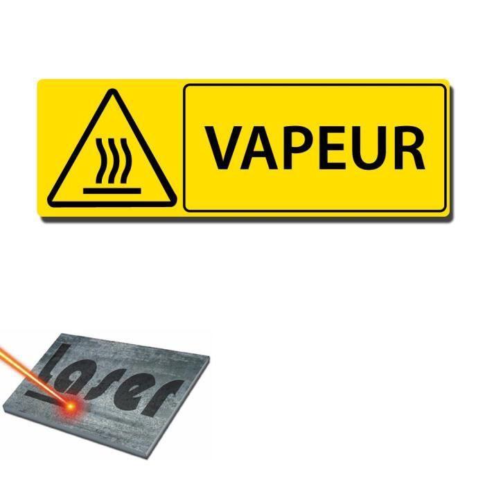 Plaque grav e autocollante 30x10 cm vapeur fond jaune for Plaque autocollante