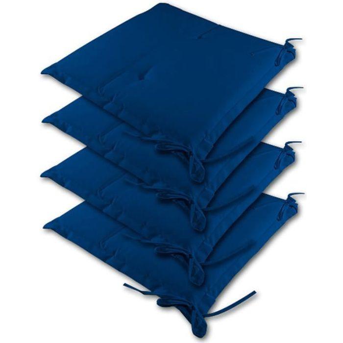 4 coussins pour chaise bleu dessus de chaise 41cm achat for Coussin chaise exterieur