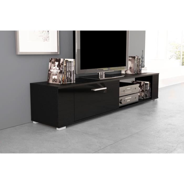 Meuble tv t l vision noir noir brillant achat for Meuble tele noir