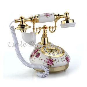Téléphone fixe Téléphone Fixe en Céramique Rétro Antique avec Rep