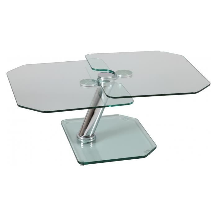 Table basse verre rectangulaire plateaux pivotants achat for Table basse 3 plateaux pivotants