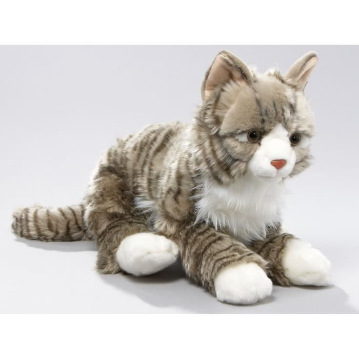 chat peluche couch tigr gris 37cm jouet achat vente peluche cdiscount. Black Bedroom Furniture Sets. Home Design Ideas