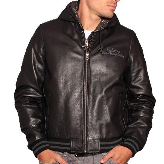 veste en cuir redskins hadley noir achat vente veste veste en cuir redskins hadley cdiscount. Black Bedroom Furniture Sets. Home Design Ideas