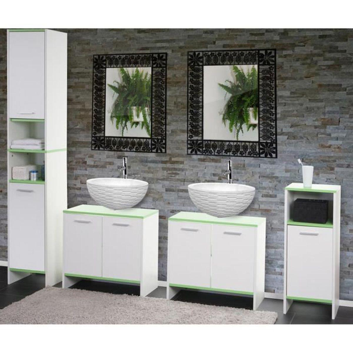 ensemble de salle de bain en bois coloris vert et blanc achat vente salle de bain complete. Black Bedroom Furniture Sets. Home Design Ideas