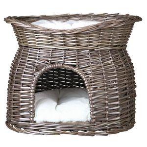 TRIXIE Panier osier avec lit au dessus et 2 coussins - 54 x 43 x 37cm - Gris - Pour chien