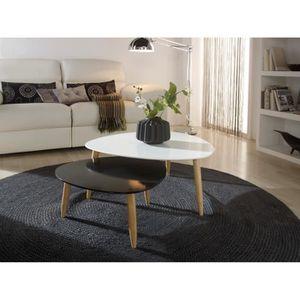 tables gigognes beda laqu blanc et noir achat vente table basse tables gigognes beda. Black Bedroom Furniture Sets. Home Design Ideas