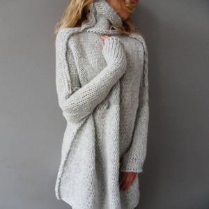 PULL pull lâche Long femme manches longues   GRIS