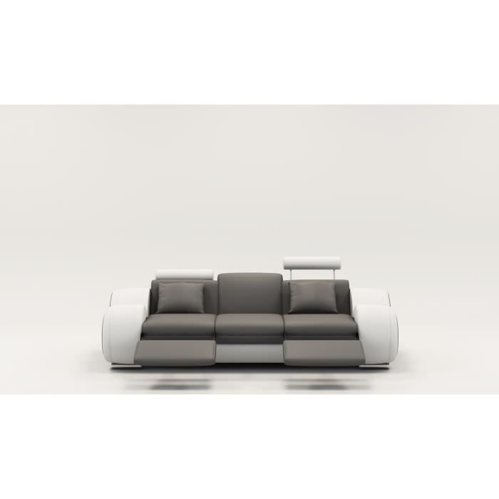 Canap design 3 places cuir gris et blanc t ti res relax oslo achat ven - Canape cuir blanc et gris ...