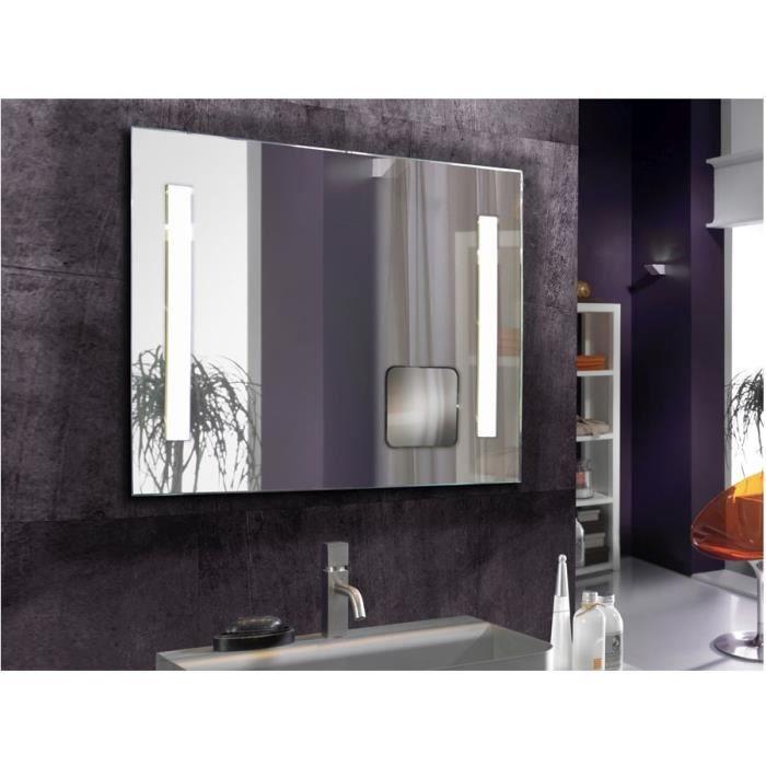 Un miroir rectangulaire led avec loupe model lop achat vente miroir salle de bain cdiscount for Miroir loupe