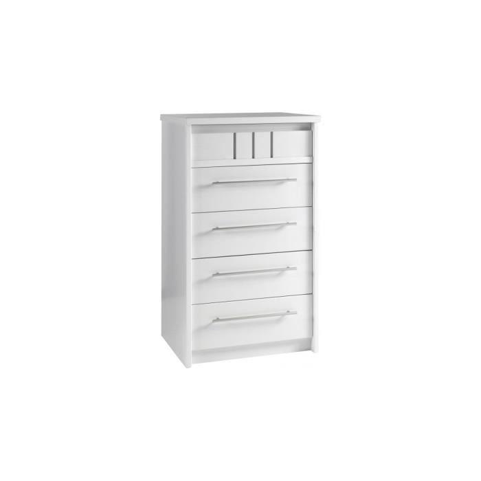 chiffonnier merisier blanc volga 5 tiroirs ocea 61 blanc achat vente chiffonnier. Black Bedroom Furniture Sets. Home Design Ideas