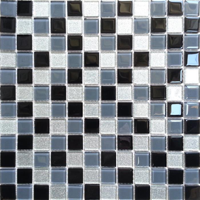 Carrelage mosa que en verre blanc noir argent achat for Carrelage mosaique blanc