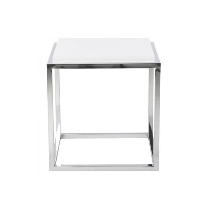 table d 39 appoint cube bois et m tal blanc dezy achat vente table d 39 appoint table d 39 appoint. Black Bedroom Furniture Sets. Home Design Ideas