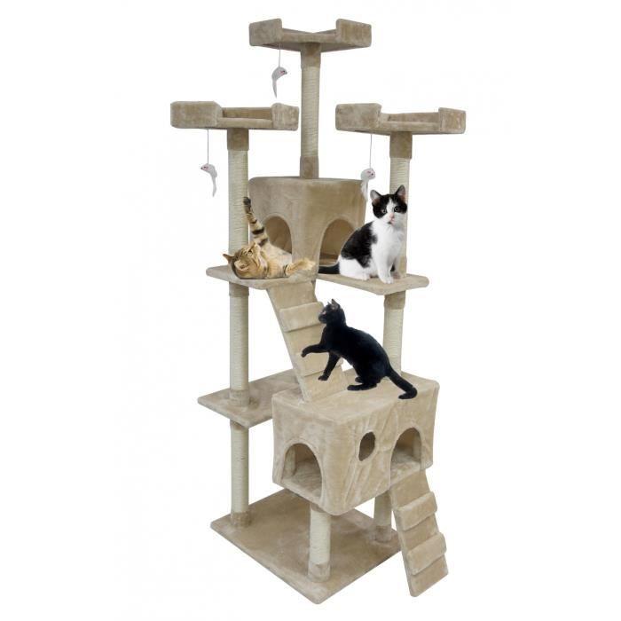 arbre chat 170cm avec griffoir beige achat vente arbre chat arbre chat 170cm soldes. Black Bedroom Furniture Sets. Home Design Ideas