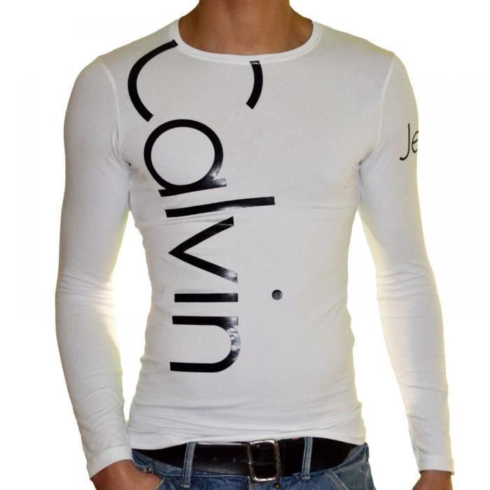 Calvin klein t shirt manches l achat vente t - Tee shirt manche longue calvin klein ...