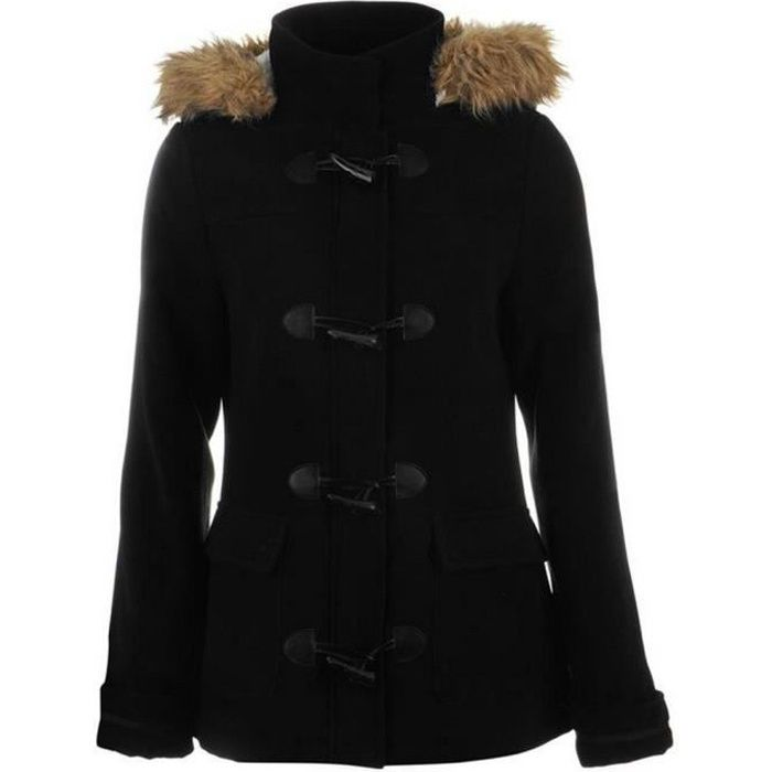 duffle coat kangol femme noir noir noir achat vente manteau caban cdiscount. Black Bedroom Furniture Sets. Home Design Ideas