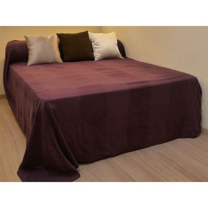 couvre lit tiss main regency prune achat vente jet e de lit boutis cdiscount. Black Bedroom Furniture Sets. Home Design Ideas
