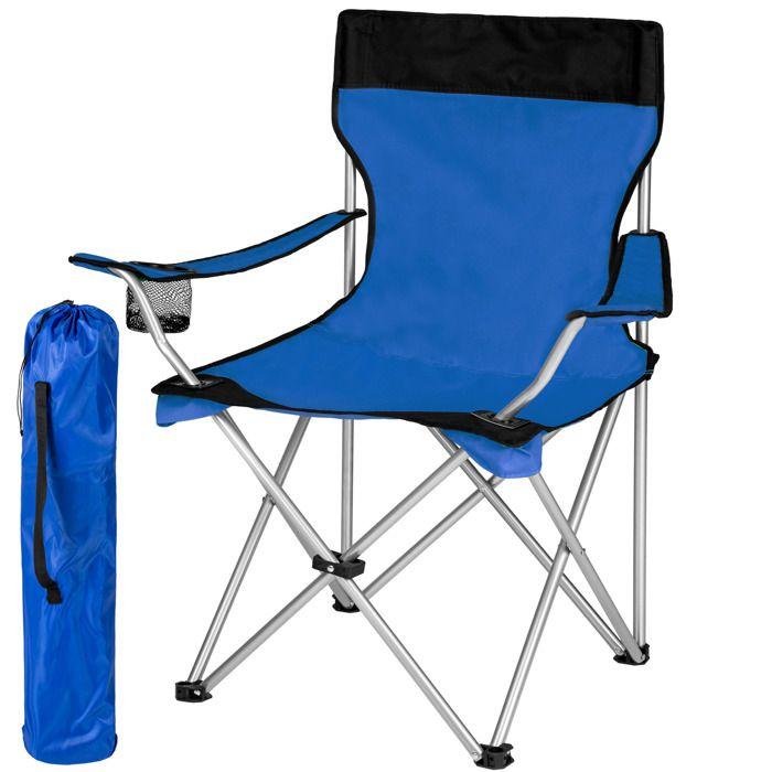 1 chaise de camping pliable avec porte boisson et housse sac de transport bleu noir tectake. Black Bedroom Furniture Sets. Home Design Ideas