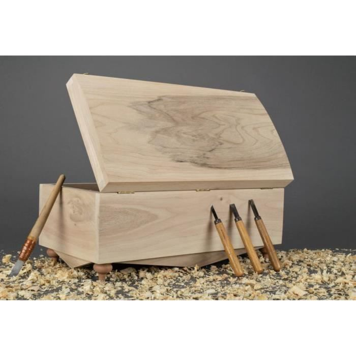 Bo te en bois brute sculpter et peindre faite main achat vente bac de - Peindre une boite en bois ...